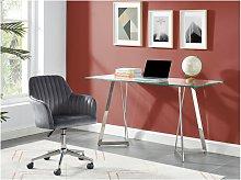 Silla de escritorio ELEANA - Terciopelo - Gris -