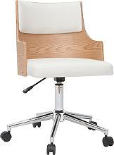 Silla de escritorio moderna blanca y madera clara