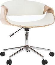 Silla de escritorio moderna polipiel blanca/madera