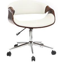 Silla de escritorio moderna polipiel blanco y