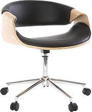 Silla de escritorio moderna polipiel negro/madera