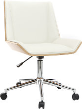 Silla de escritorio moderna PU blanca y madera