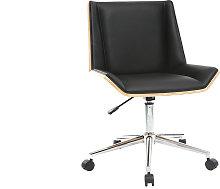 Silla de escritorio moderna PU negra y madera