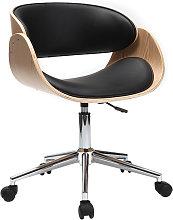 Silla de escritorio negro y madera clara con