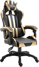 Silla de gaming de cuero sintético dorado Vida XL