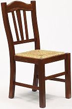 Silla de madera con asiento de paja para cocina y