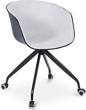 Silla de oficina acolchada negra con ruedas Gris