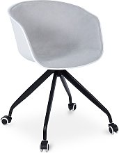 Silla de oficina blanca acolchada con ruedas Gris