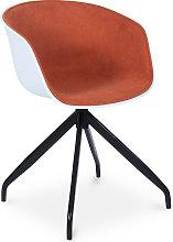 Silla de oficina blanca de diseño tapizada Naranja