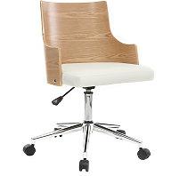Silla de oficina moderna PU blanca y madera clara