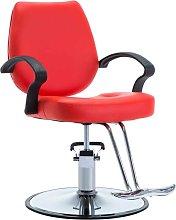 Silla de peluquería de cuero sintético roja -