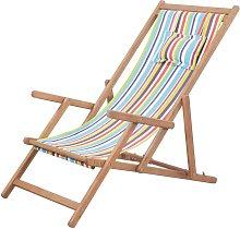 Silla de playa plegable de tela y estructura