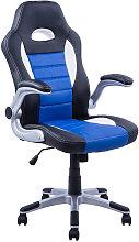 Silla directiva gaming en color azul blanco y