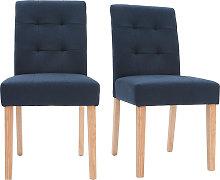 Silla diseño capitoné tejido azul patas madera