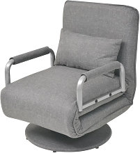 Silla giratoria y sofá cama tela gris claro Vida