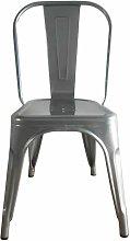 Silla metálica modelo HKM001 pintada color gris.