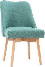 Silla nórdica tejido azul patas madera clara LIV