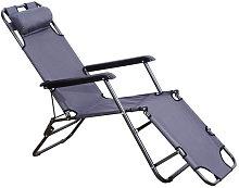 Silla tumbona reclinable y plegable gris Outsunny