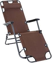 Silla tumbona reclinable y plegable marrón
