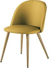 Silla vintage amarillo mostaza y metal efecto roble