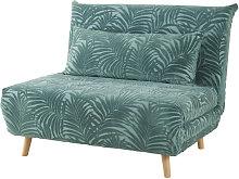 Sillón cama de 1 plaza de terciopelo verde con