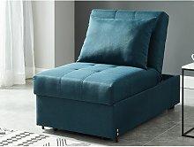 Sillón-cama de tela LESNA - Azul verdoso