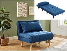 Sillón cama XL de tela CHILA - Azul
