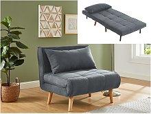 Sillón cama XL de tela CHILA - Gris