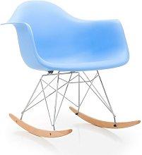 Sillon de diseño balancin, madera, ABS azul