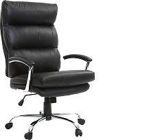 Sillón de oficina diseño cuero negro TILIO