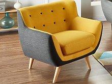 Sillón de tela SERTI - Amarillo con borde gris