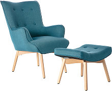 Sillón diseño escandinavo y reposapiés azul