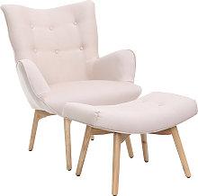 Sillón diseño escandinavo y reposapiés rosa y