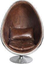 Sillón huevo industrial de piel marrón