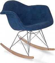 Sillón Mecedora Tower Wood Dre Azul Tapizado