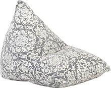 Sillón puf de tela patchwork gris claro - Gris