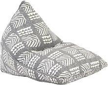 Sillón puf de tela patchwork gris - Hommoo