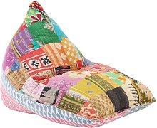 Sillón puf de tela patchwork multicolor -