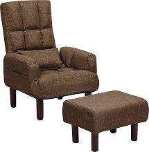 Sillón reclinable marrón con reposapiés OLAND