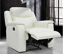 Sillón relax EVASION de piel - Blanco márfil