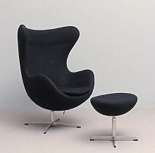 sillón +reposapiés tapizado negro