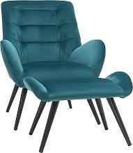 Sillón y reposapiés moderno en terciopelo azul