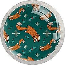 Sketchy Christmas Fox - Juego de 4 pomos para
