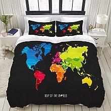 SmallNizi Juego de Funda nórdica, Mapa del Mundo,