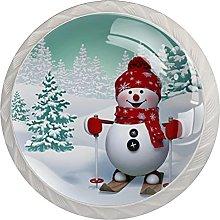 Snowman SkiingRound - Tirador de cristal para