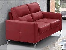 Sofá 2 plazas de piel de búfalo EDORI - Rojo