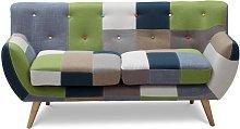 Sofá 2 plazas de tela Patchwork SERTI - Tonos