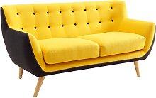 Sofá 2 plazas de tela SERTI - Amarillo con borde
