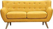 Sofá 2 plazas de tela SERTI - Amarillo miel con