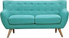 Sofá 2 plazas de tela SERTI - Azul turquesa con